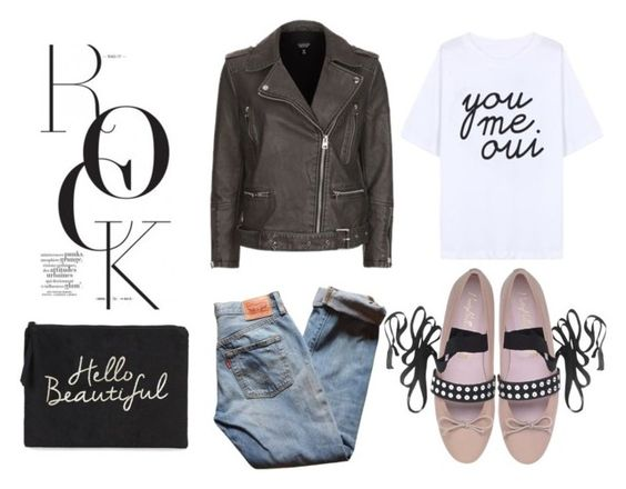 leather jacket and ballerinas